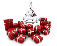 Gifts under a Christmas tree Stock Photos