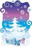 Gifts under Christmas tree. Gifts under white Christmas tree vector illustration