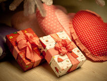 Gifts at the Merry Christmas. Gifts under christmas-tree at the Merry Christmas royalty free stock photo