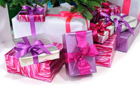 Gifts under Christmas tree Stock Photos