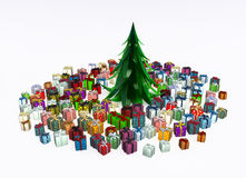 Gifts under Fir 2. Gift 3d, many small wrapped  boxes, isolated, over white Royalty Free Stock Photo