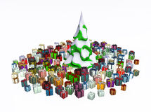 Gifts under Fir, Snowy. Gift 3d, many small wrapped  boxes, isolated, over white Royalty Free Stock Image