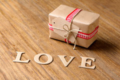 Gifts for Valentine's Day. Decorative boxes and felt hearts Royalty Free Stock Image