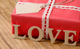 Gifts for Valentine's Day. Decorative boxes and felt hearts Stock Photo