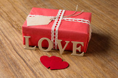 Gifts for Valentine's Day. Decorative boxes and felt hearts Royalty Free Stock Photos