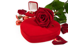 Gifts for Valentine's Day: flowers, chocolates , jewelry Stock Image