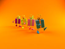 Gifts walking. In line, 3d generated for christmas or a birthday Royalty Free Stock Photo