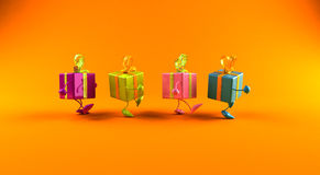 Gifts walking Royalty Free Stock Image