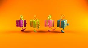 Gifts walking vector illustration