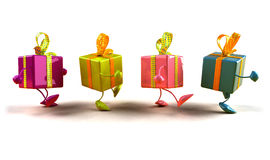 Gifts walking. In line, 3d generated for christmas or a birthday Royalty Free Stock Photography