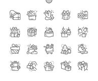 Gifts Well-crafted Pixel Perfect Vector Thin Line Icons 30 2x Grid for Web Graphics and Apps. Simple Minimal Pictogram Royalty Free Stock Photography