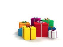 Gifts on white background. A lot of bright colorful gifts on white background Royalty Free Stock Photography