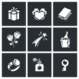Gifts for women on holiday icons set. Vector Illustration. Royalty Free Stock Image