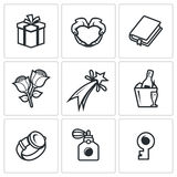 Gifts for women on holiday icons set. Vector Illustration. Royalty Free Stock Photo