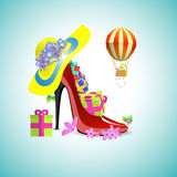 Gifts in the womens shoe Royalty Free Stock Image
