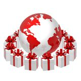 Gifts world. 3D earth and gifts box Royalty Free Stock Image
