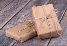 Gifts Wrapped in Brown Paper Royalty Free Stock Image