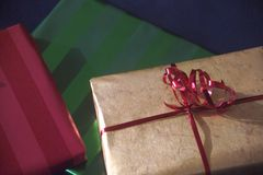 Gifts wrapped in colorful paper Stock Photos