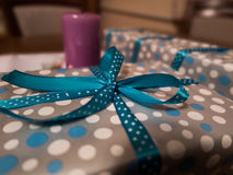Gifts wrapped in decorative paper and ribbon Stock Image