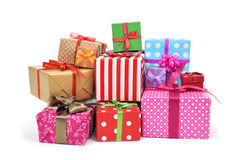Gifts wrapped in different papers Stock Photography