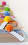 Gifts wrapped in kraft paper and tied with ribbons knitted. Royalty Free Stock Photo