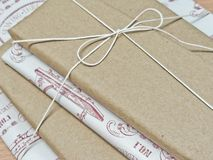 Gifts wrapped in retro paper Stock Images