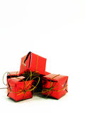 Gifts wrapped up in red paper. In Western culture, gifts are often wrapped in wrapping paper Royalty Free Stock Photo