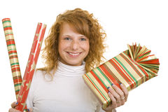 Gifts and wrapping paper Stock Images