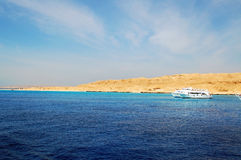 Giftun island. Bay and ship in  Giftun island in Red Sea Egypt Royalty Free Stock Photo