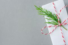 Giftvakje in Witboek wordt met het gestreepte rode takje van de lint groene jeneverbes op grijze achtergrond wordt gebonden verpa stock afbeelding