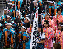 Japanese children in historical costumes royalty free stock image