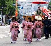 Japanese women in colorful kimonos Royalty Free Stock Image