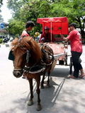 Gig. Coachman gig was waiting for passengers at a base in the city of Solo, Central Java, Indonesia royalty free stock image