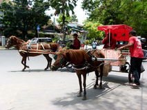 Gig. Coachman gig was waiting for passengers at a base in the city of Solo, Central Java, Indonesia stock photo
