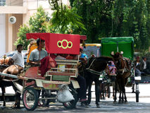 Gig. Coachman gig was waiting for passengers at a base in the city of Solo, Central Java, Indonesia stock images