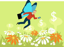 Gig economy. Businessman with butterfly wings flying over a flower field, as a metaphor for a gig economy freelance worker, EPS 8 vector illustration, no Stock Photo