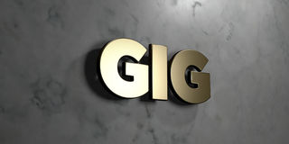 Gig - Gold sign mounted on glossy marble wall  - 3D rendered royalty free stock illustration. This image can be used for an online website banner ad or a print Stock Photos