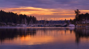 Gig Harbor at Dusk. Gig Harbor, WA USA - March 30th, 2017. Gig Harbor is one of the most popular tourist destinations in Washington state Stock Photography