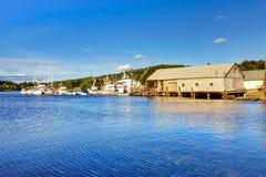 Gig Harbor, WA - September 25, 2011: Small town downtown marina area. Blue sky royalty free stock photo