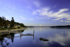 Gig Harbor waterfront scene with Mount rainier Stock Photos