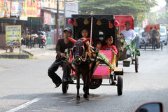 Gig. People enjoy traveling with tour gig in the city of Solo, Central Java, Indonesia stock photos