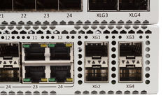 Gigabit Ethernet switch with SFP slot Stock Images