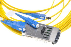 Gigabit Interface Converter with fiber cable Royalty Free Stock Images