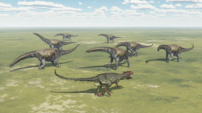 Giganotosaurus et Argentinosaurus Photo libre de droits