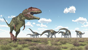 Giganotosaurus et Argentinosaurus Photo stock