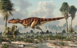 Giganotosaurus i en myr royaltyfri illustrationer