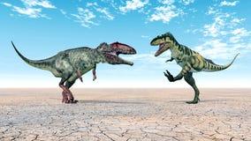 Giganotosaurus y Bistahieversor Imágenes de archivo libres de regalías