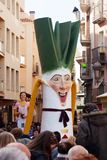 Gigant of  Calsot during Calсotada at streets in Valls Stock Photography