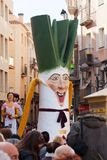 2014:  Gigant de Calsot durante Calcotada en Valls Imagen de archivo libre de regalías