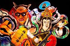 Gigant iluminował Nebuta pławika w Nebuta Warasse, Aomori, Japonia obrazy royalty free
